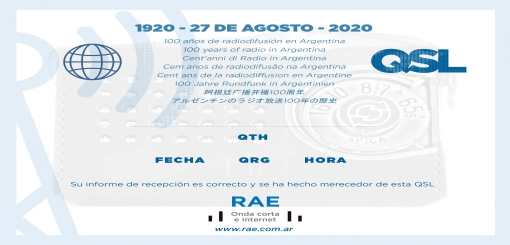 New! Argentina's First Radio Broadcast Centennial QSL E-Card ...